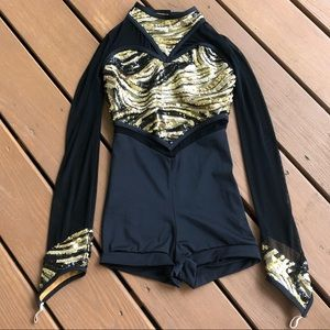 Gold sequins dance costume | Adjustable neck